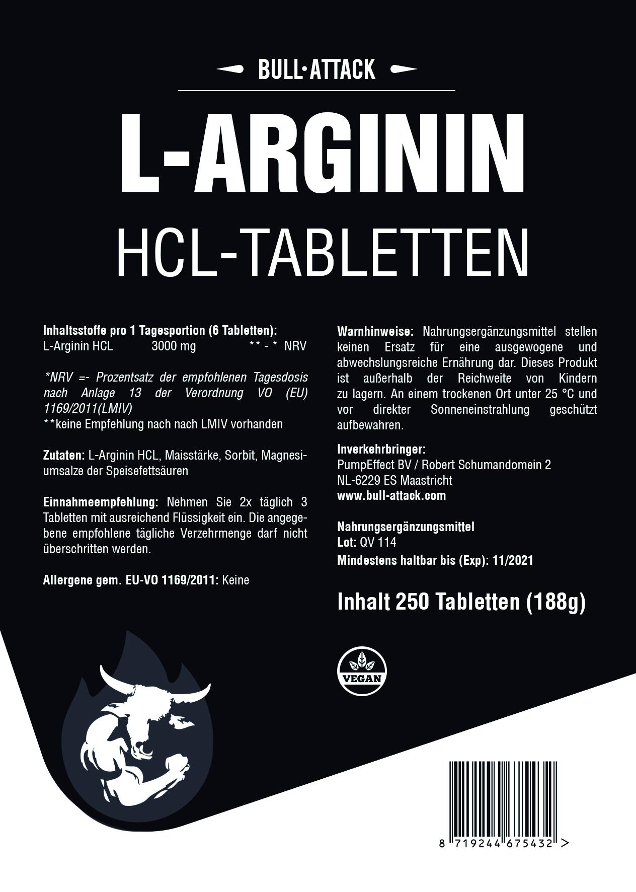 L-Arginin HCL Tabletten | ab 250 hochdosierte Tabletten