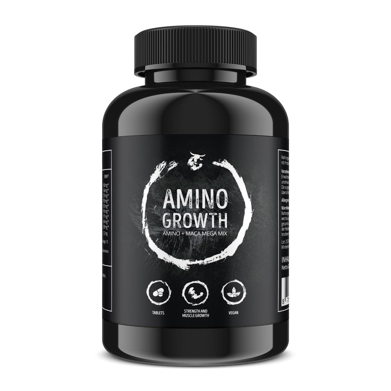 AMINO GROWTH | Aminosäuren Komplex mit Maca & Vitamin B6 | zum Muskelaufbau, Straffung, Diät & Leistungssteigerung - vegane Tabletten | Hochdosiert mit 5000 mg/Portion
