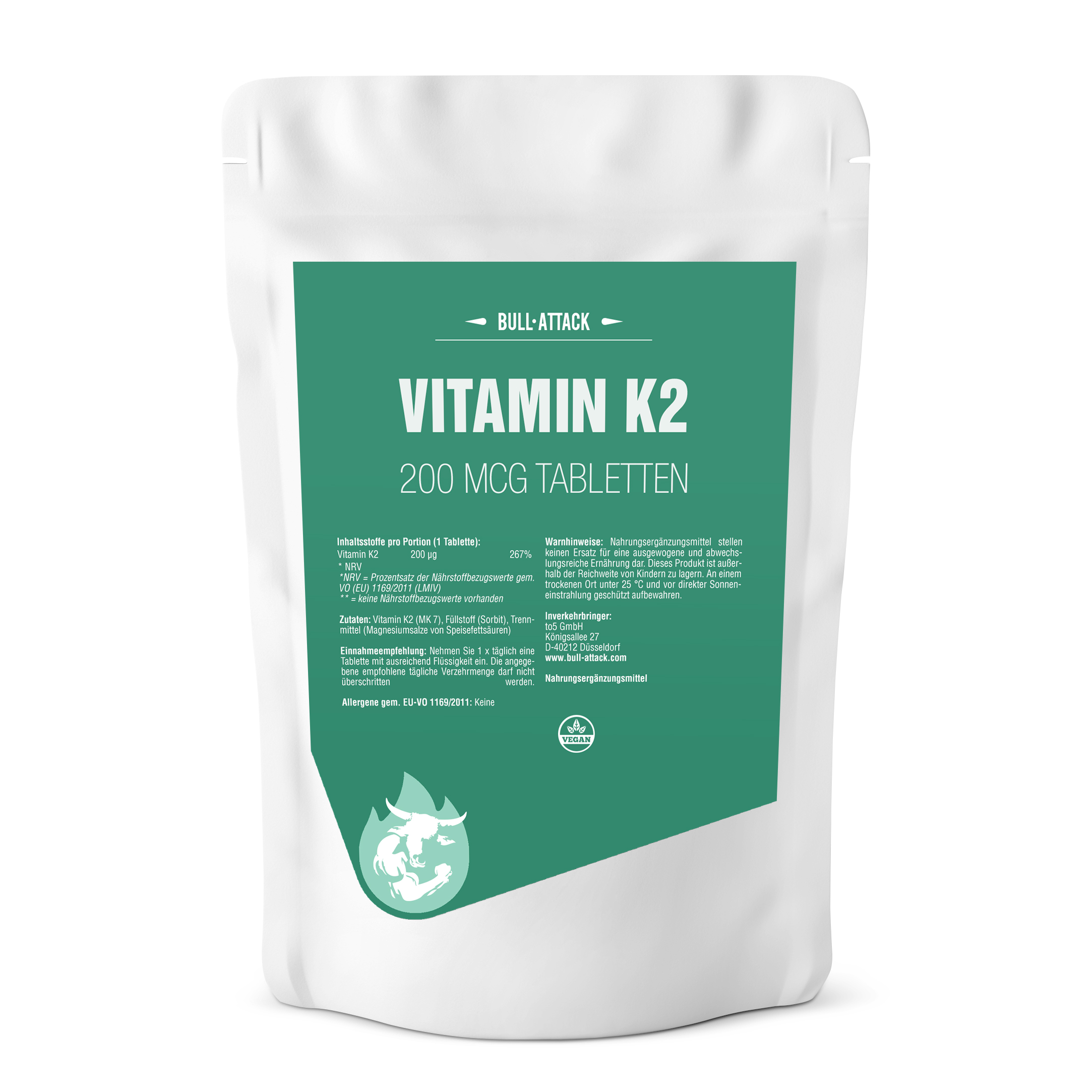 Vitamin K2 (MK7) 200µg  | reines Vitamin K2 | 500 Tabletten