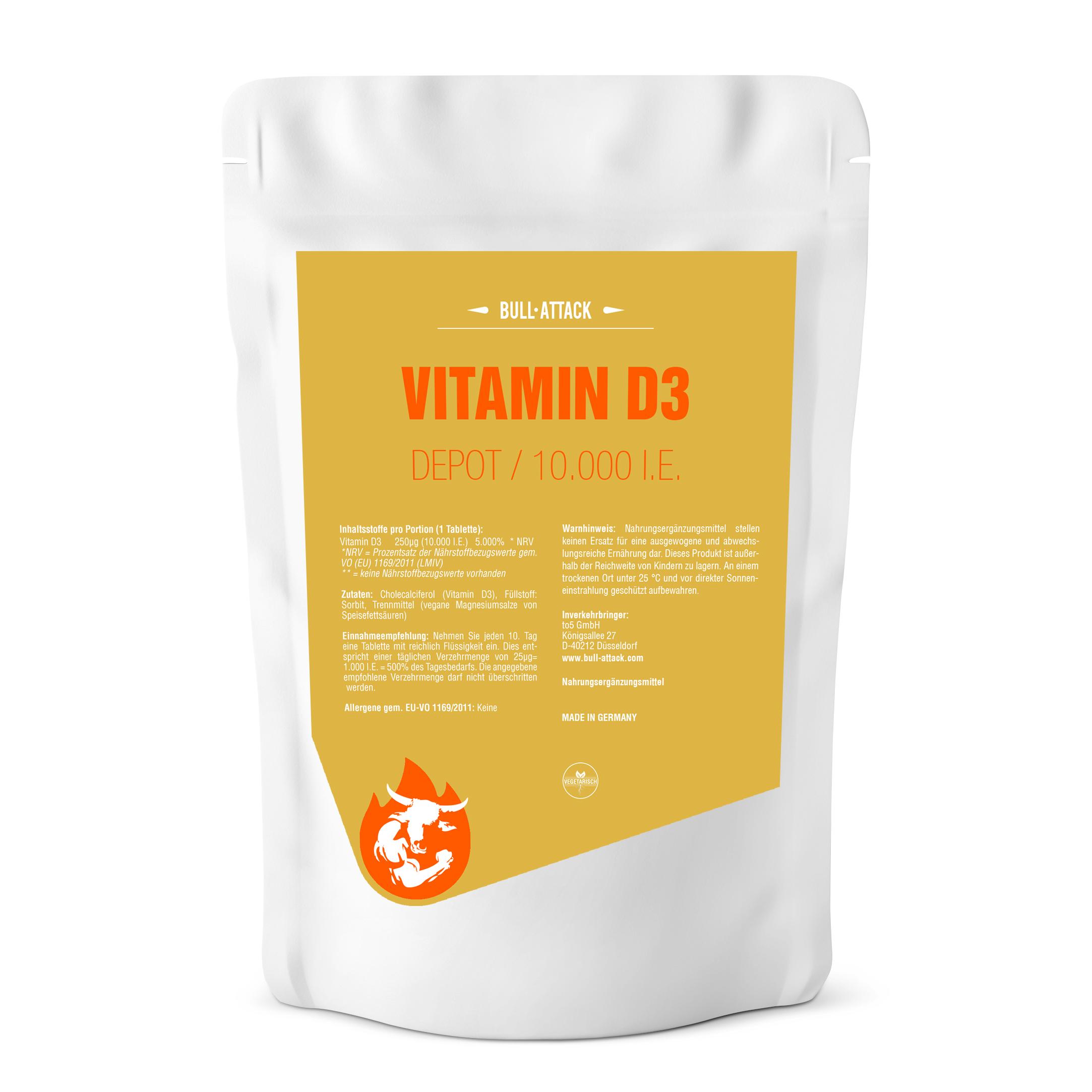 Vitamin D3 10.000 I.E Depot Tabletten - Hochdosiert & Vegetarisch