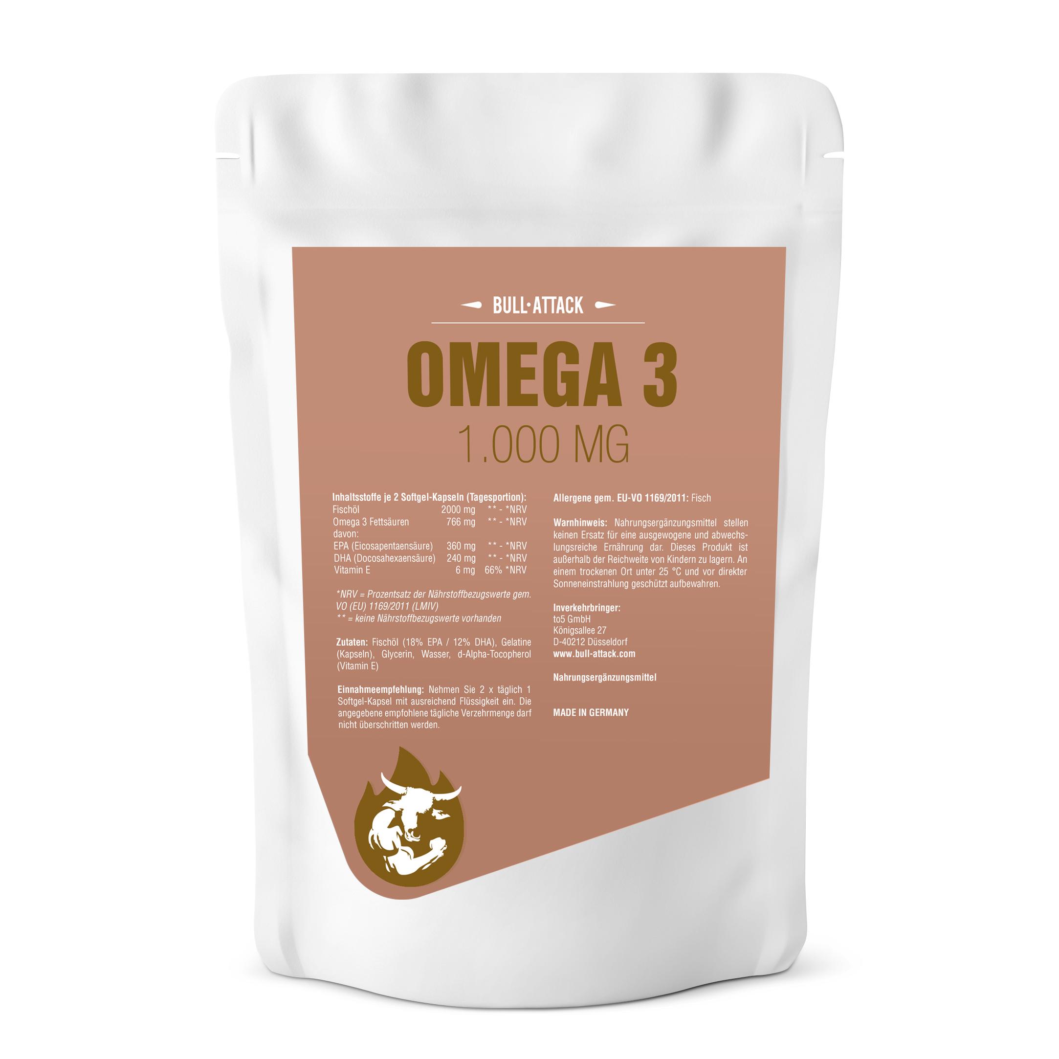 Omega 3 Fischöl-Kapseln | hochwertige Softgel-Kapseln 250 Stück