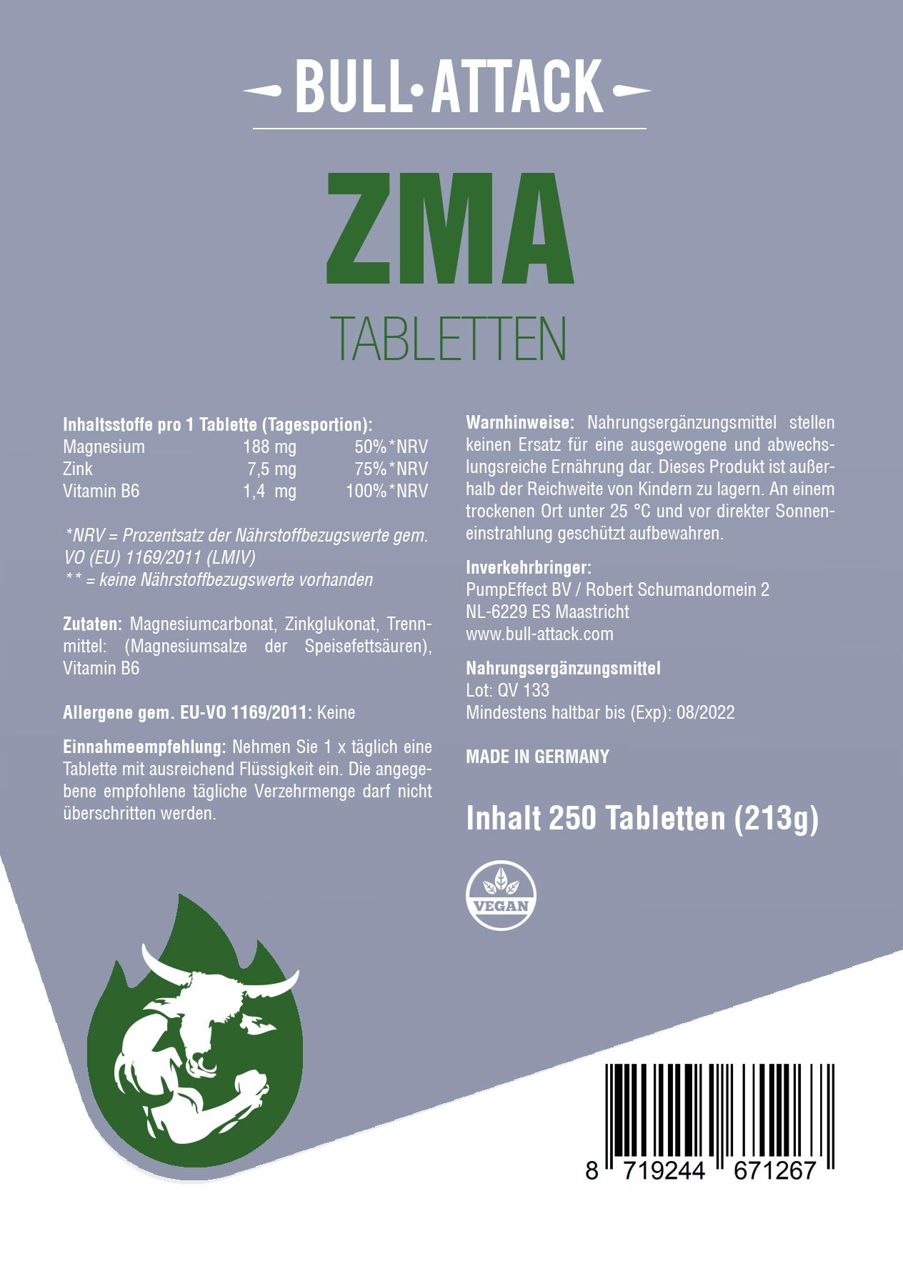 ZMA Tabletten   Zink, Magnesium & Vitamin B6 - 500 vegane Tabletten Mineralkomplex