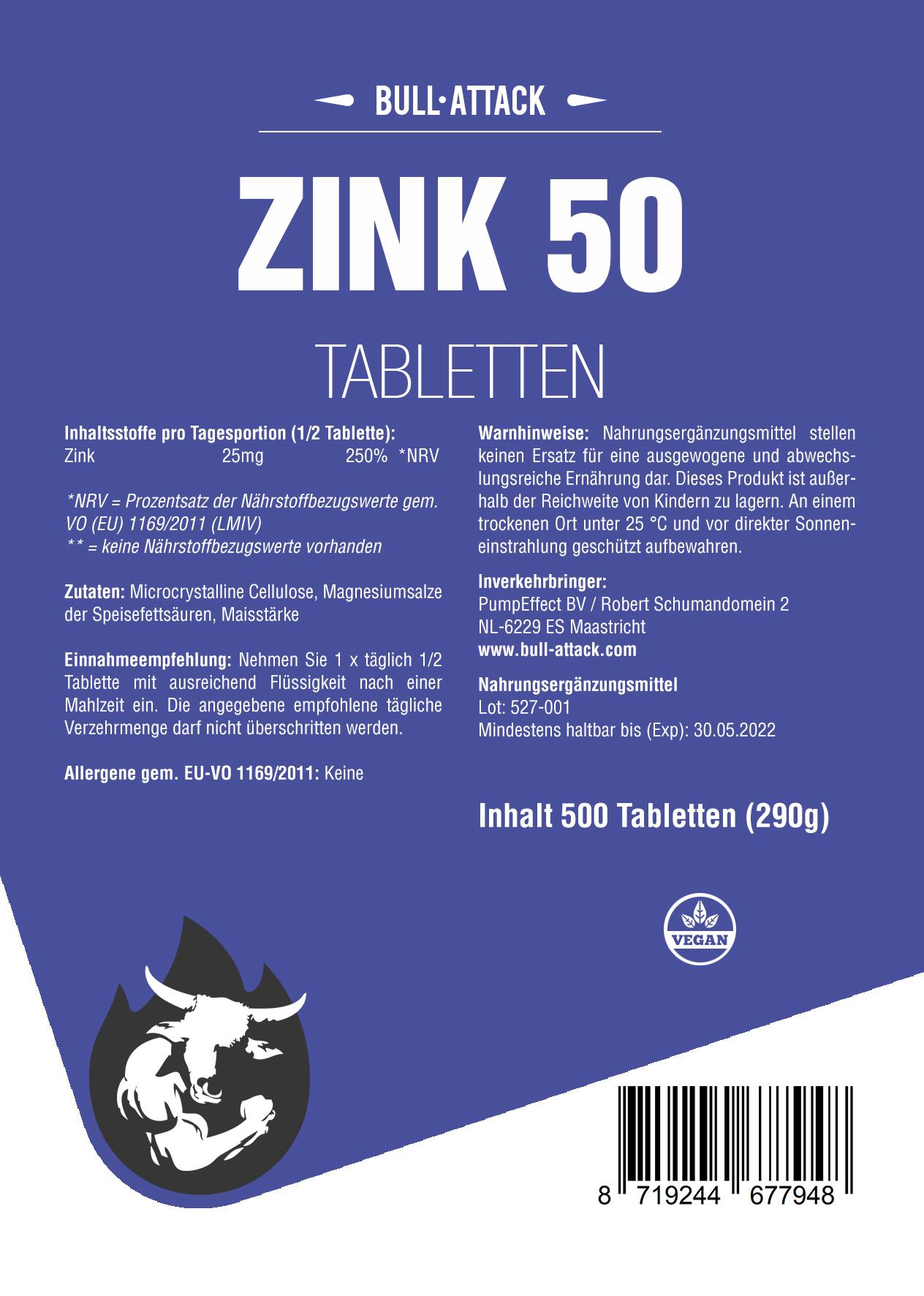 Zink 50mg   500 Tabletten