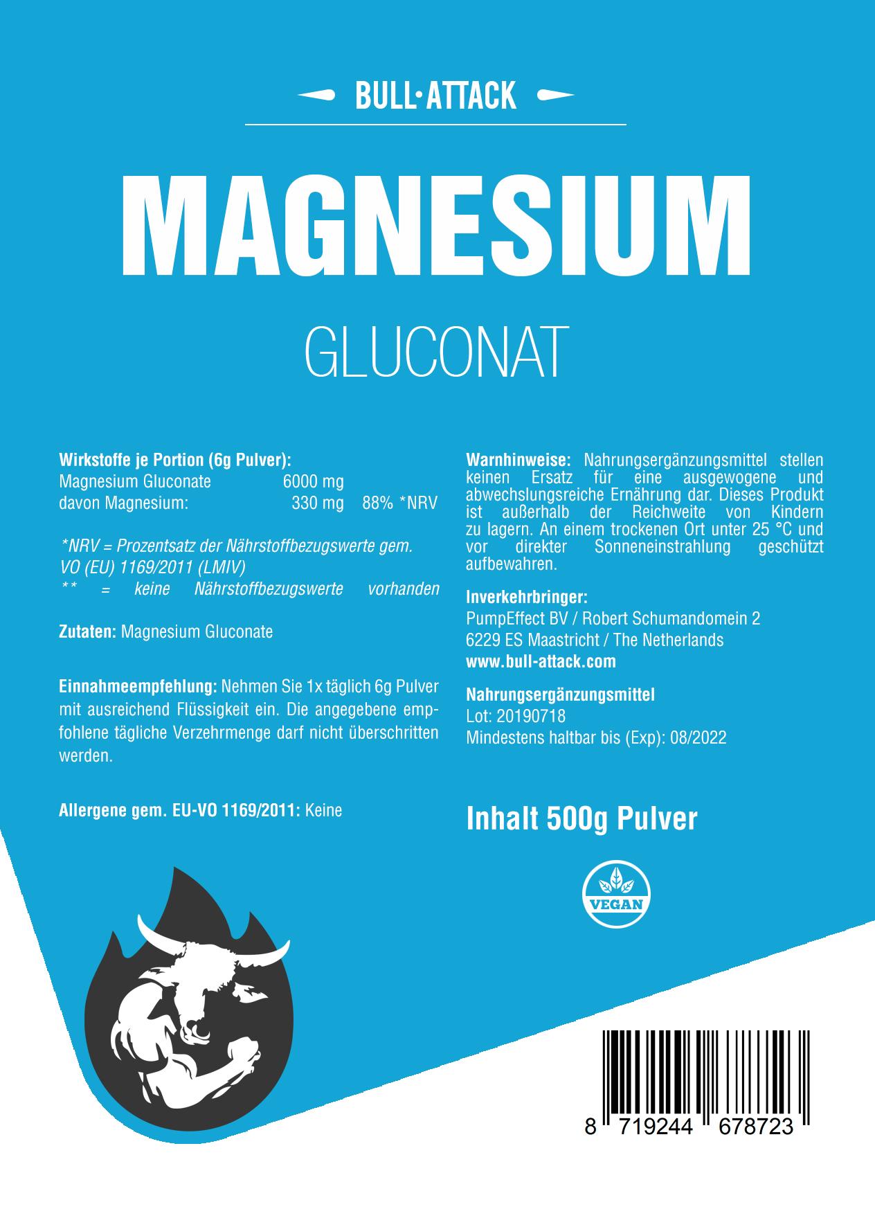 Magnesium   Gluconat 500g Pulver