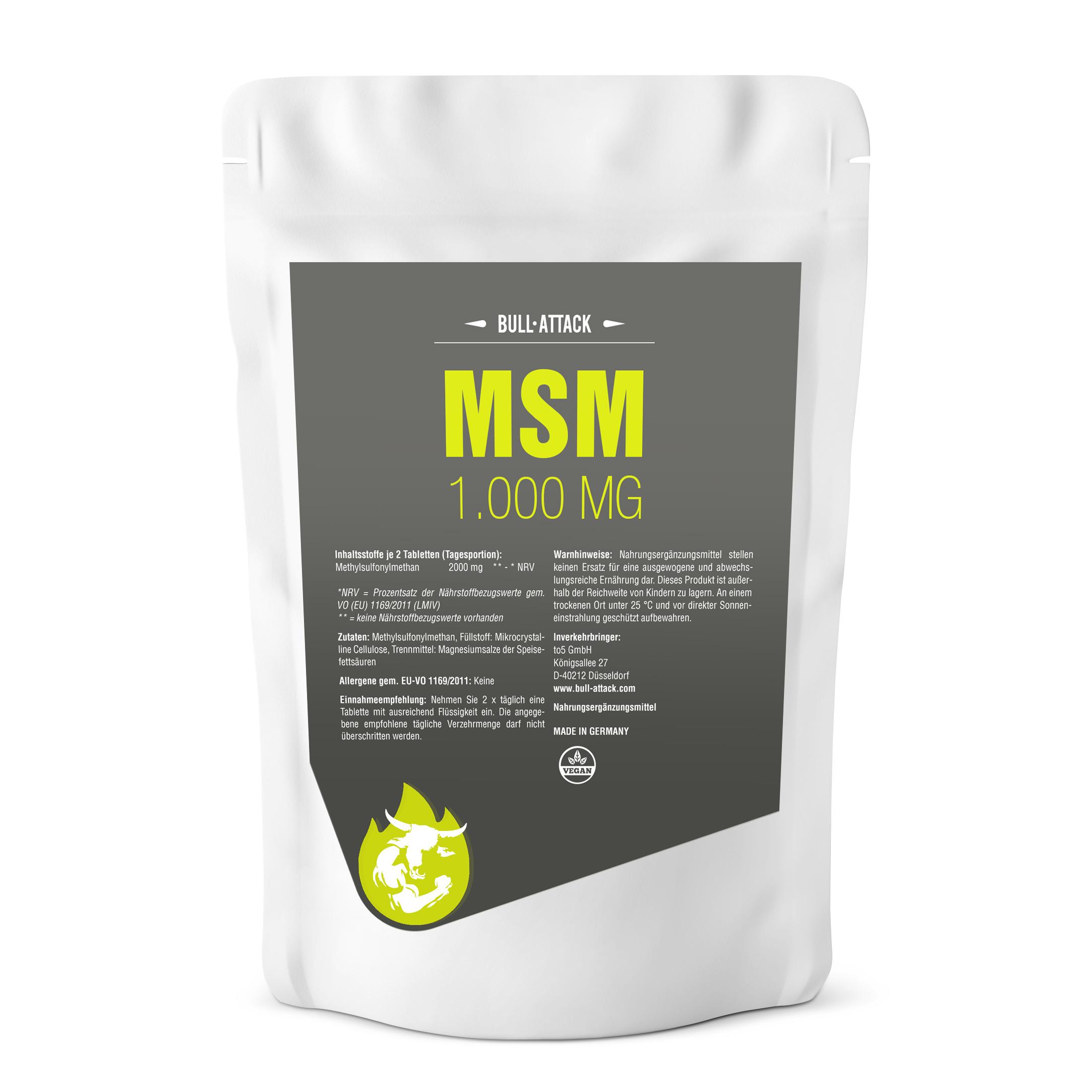 MSM Tabletten á 1000mg - Vegane, hochdosierte Tabletten