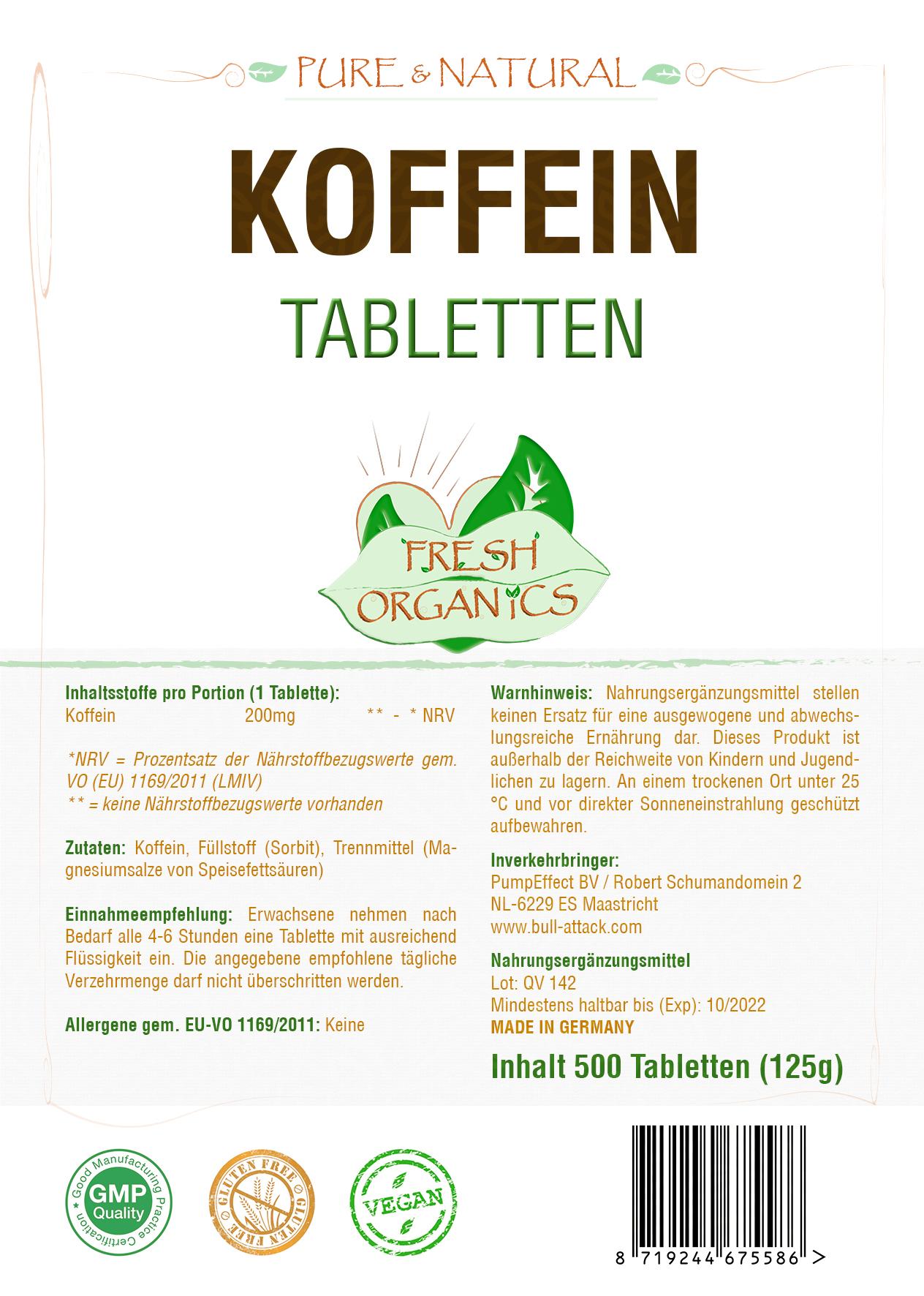 Koffein Tabletten 200mg - hochdosierte, vegane Tabletten Energiebooster, Wachmacher