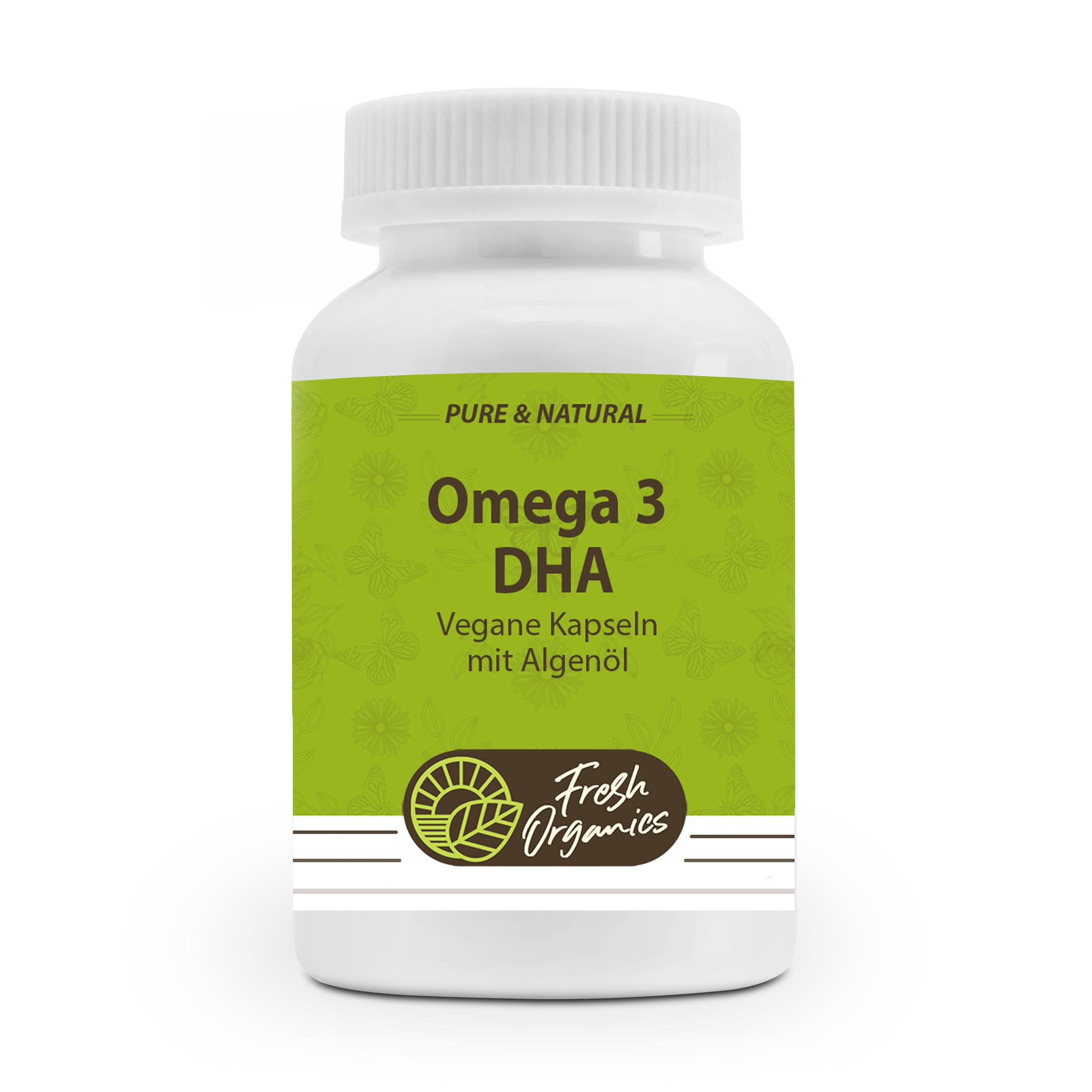 Omega 3 Algenöl Kapseln - Vegan & Hochdosiert - 90 Kapseln á 500mg Algen-Öl - Natürliches Antioxidant & Astaxanthin - Reich an Omega Fettsäuren - Hoher Gehalt an DHA