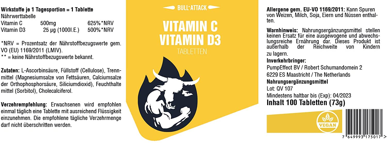 Vitamin C + Vitamin D3 | 100 Tabletten