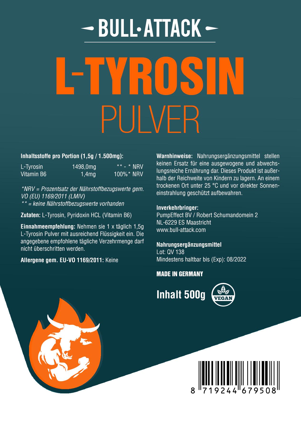 L-Tyrosin Pulver - hochwertiges Tyrosin Pulver + Vitamin B6