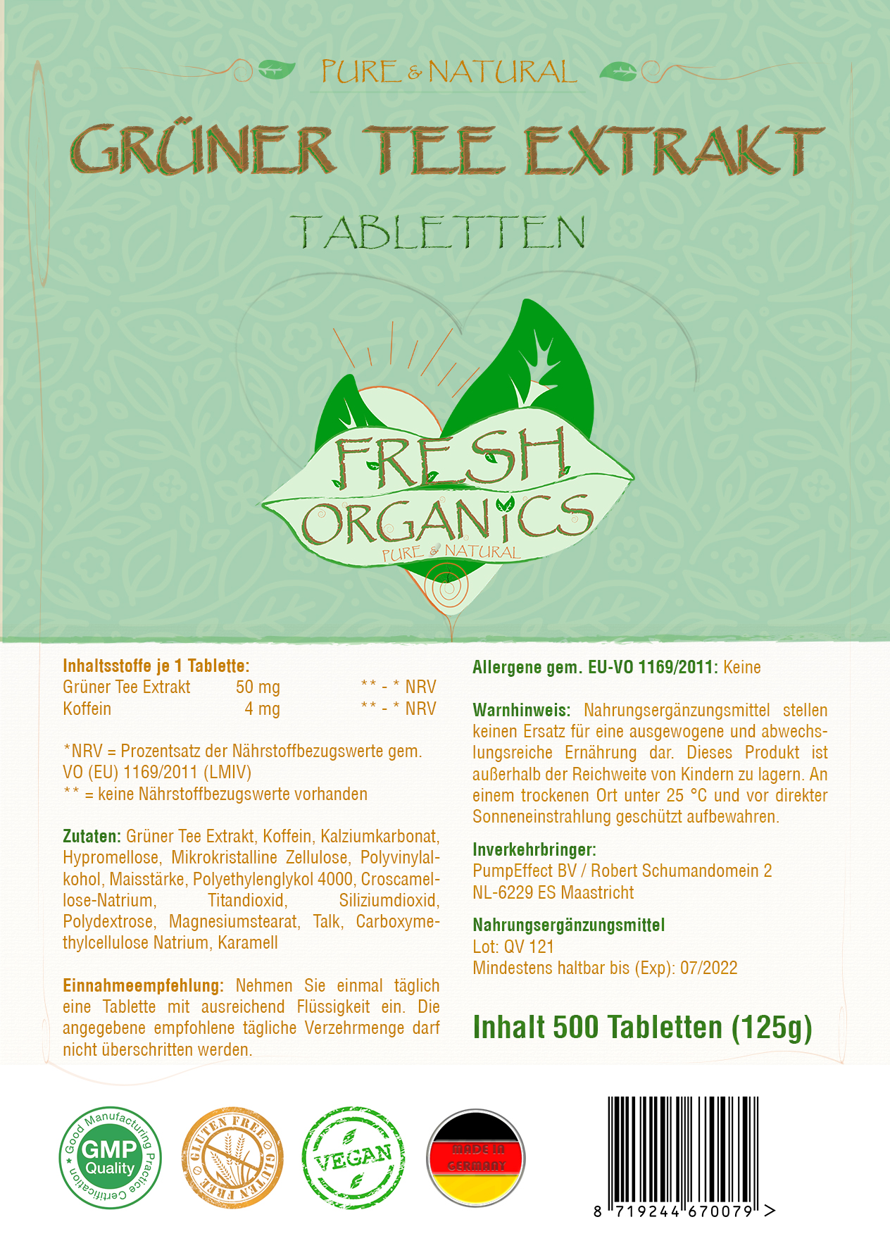 Green Tea Extract - hochdosierter Grüner Tee Extrakt Tabletten - Fatburner & Gewichtsmanagement