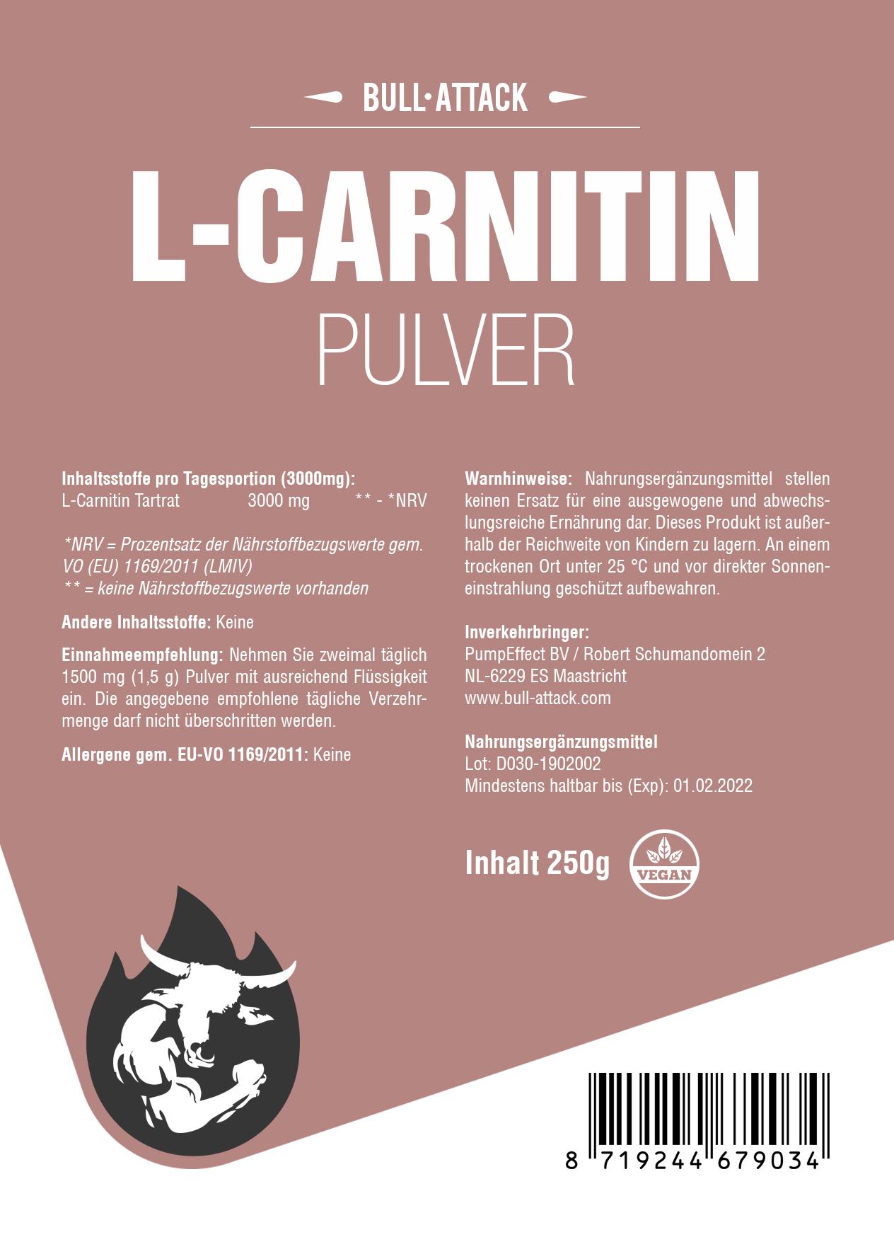 L-Carnitin Pulver - 100% reines Pulver ohne Zusätze - unterstützt die Stoffwechsel-Energie-Gewinnung & Fettverbrennung
