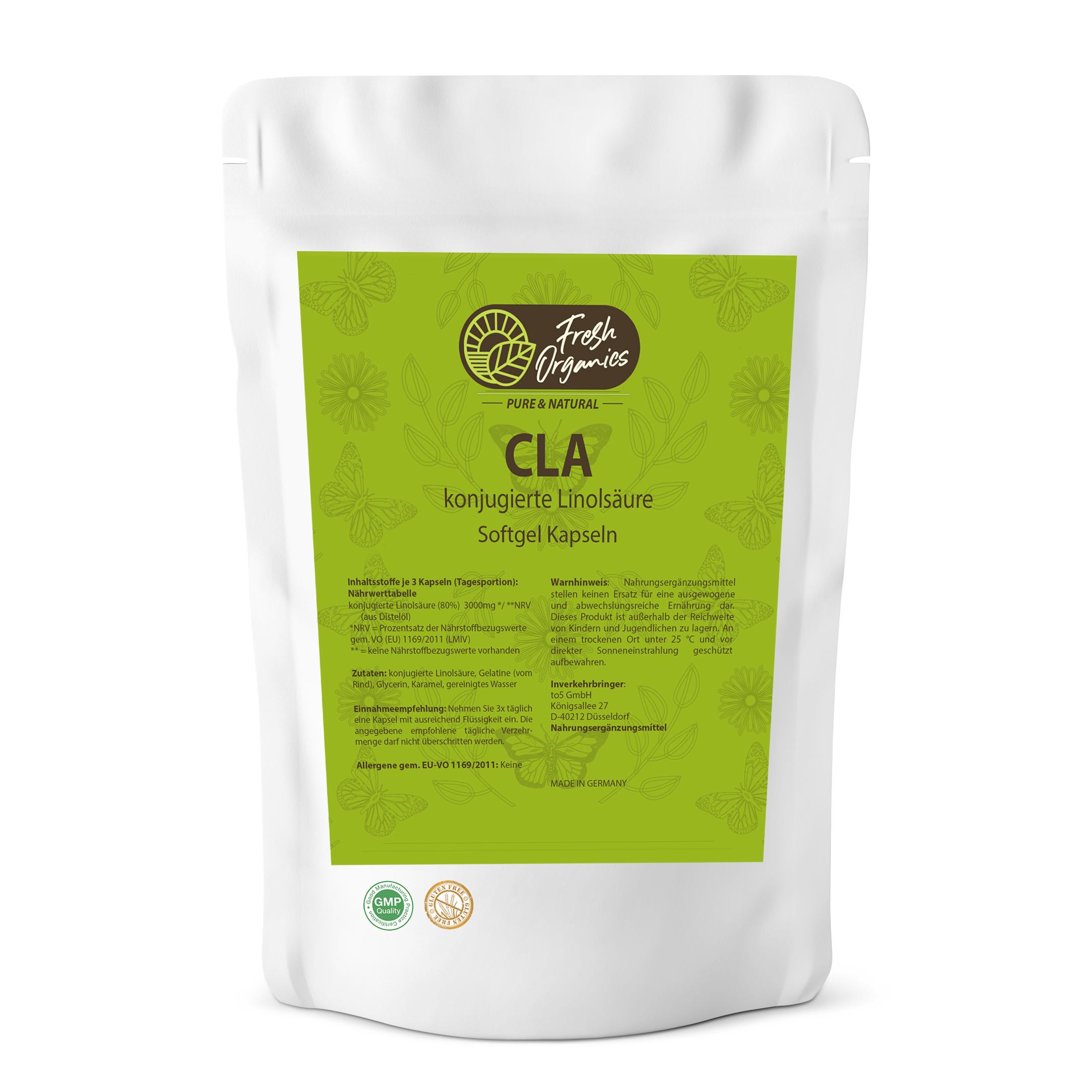 CLA Softgel-Kapseln Hochdosiert á 1000mg - konjugierte Linolsäure - natürliche Fettverbrennung + Muskelaufbau