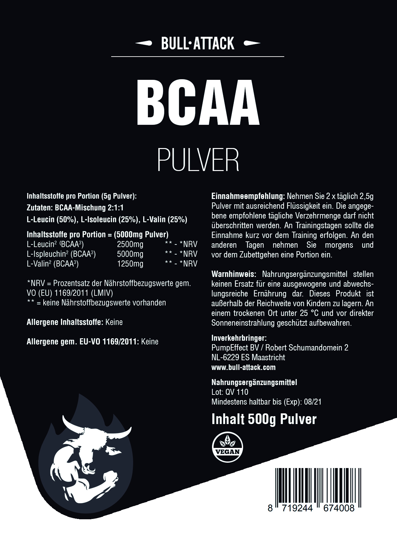 BCAA Pulver   hochwertiges, feines Pulver 500g