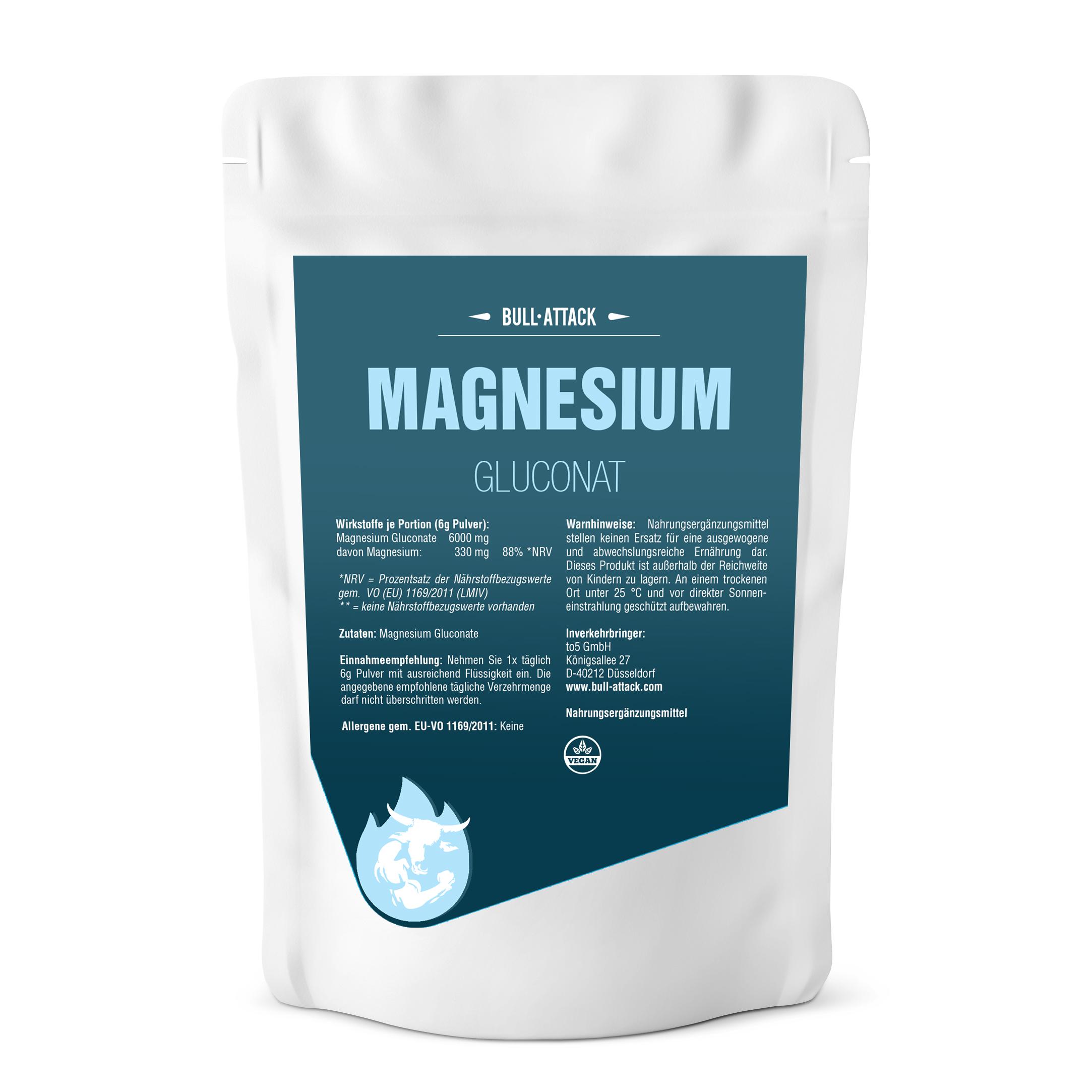 Magnesium Gluconat - 500g reines Pulver