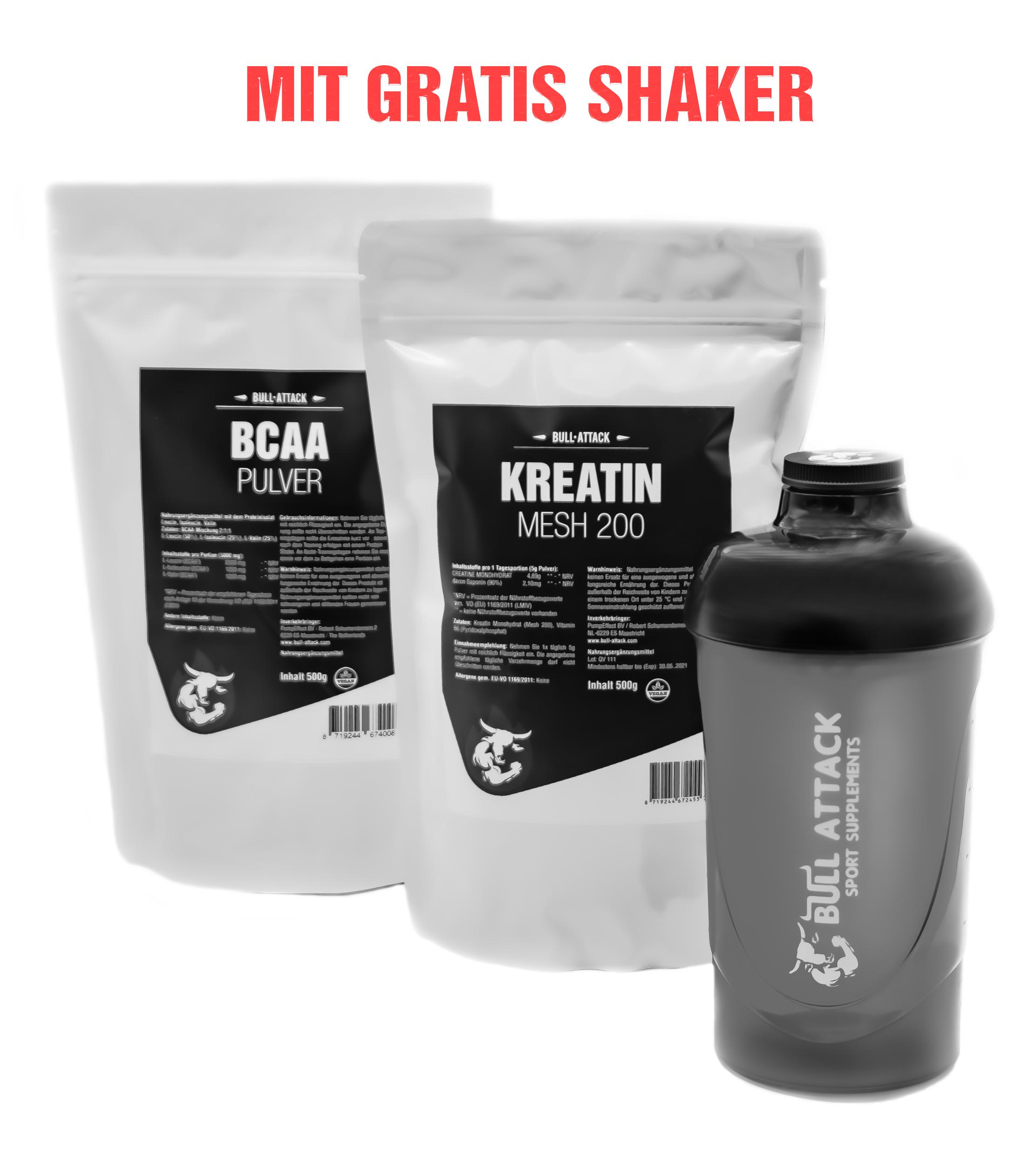 Kreatin Mesh Pulver 500g | BCAA Pulver 500g | Gratis BullAttack Shaker