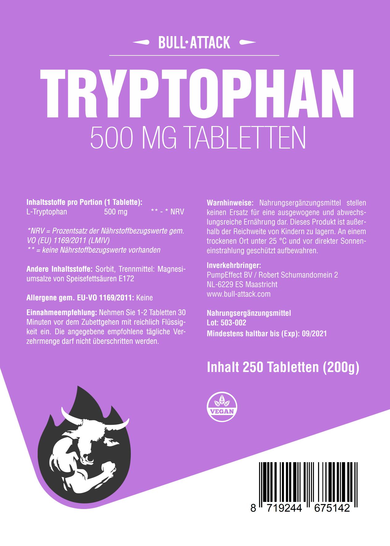 Tryptophan Tabletten 500mg - Serotonin - bei Schlafstörungen