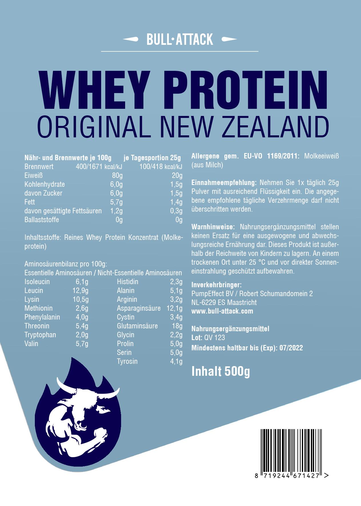 New Zealand Whey Protein - reines Molkeprotein Pulver 500g