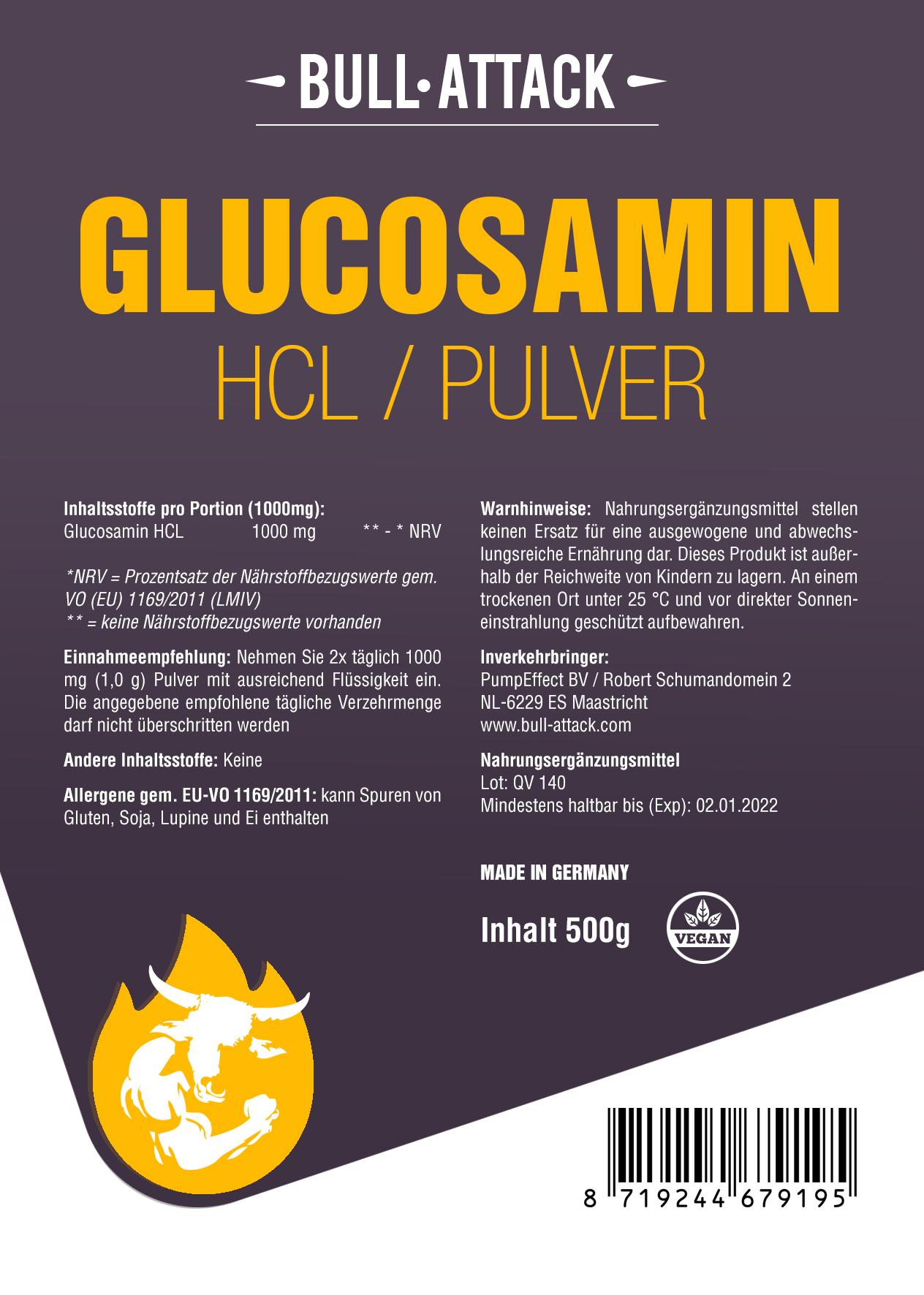 Glucosamin HCL Pulver  | reines, hochwertiges Pulver 500g